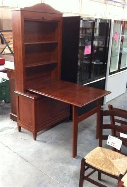 Mobile con tavolo in legno massello arte povera for Mobile tavolo